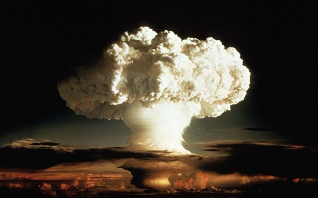 The mushroom cloud of the first test of a hydrogen bomb